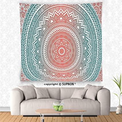 Amazon.com: VROSELV custom tapestry Teal and Coral Tapestry Ombre ...