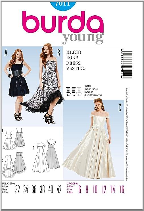 Amazon.com: Burda Sewing pattern 7011, Three evening dresses with ...