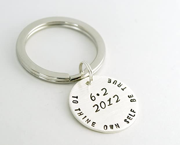 Amazon com: Hand Stamped Sterling Silver Sobriety Date Key