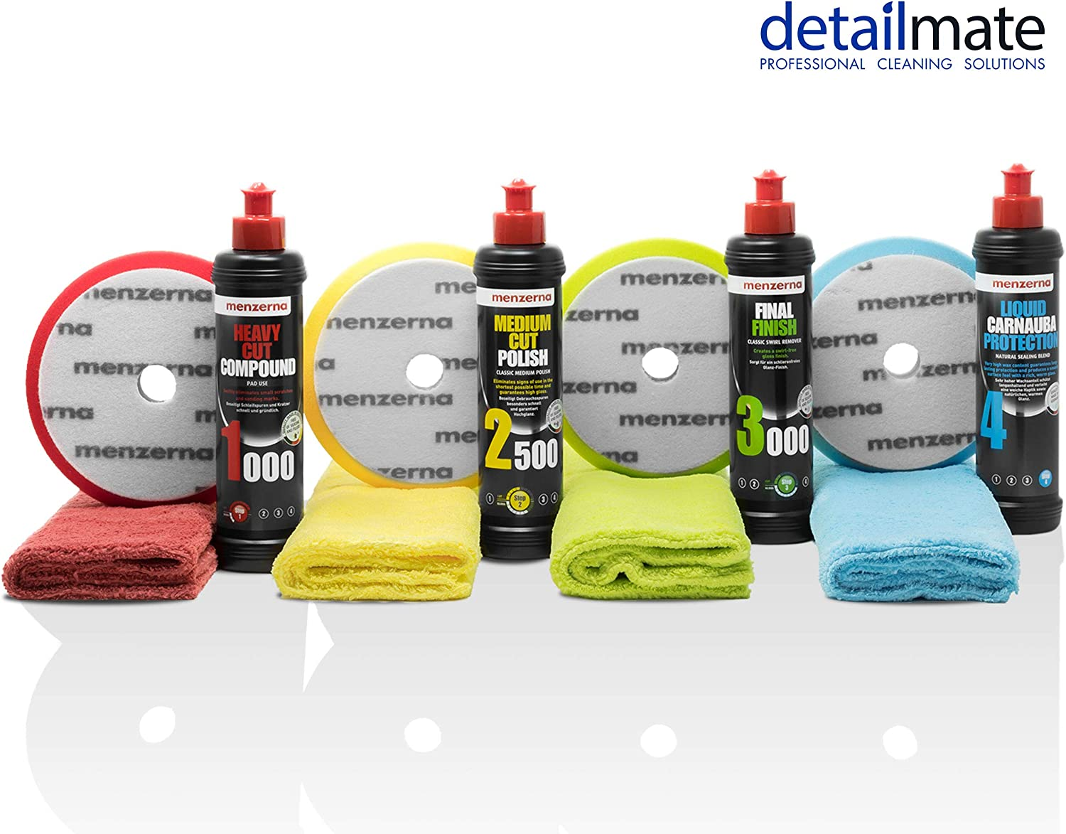 Detailmate Auto Politur Set Menzerna Autopolitur Super Heavy Cut Compound Hc1000 Medium Cut 2500 Final Finish Ff3000 Liquid Carnauba Wachs 4 Passende Menzerna Pads 4 Poliertücher Auto