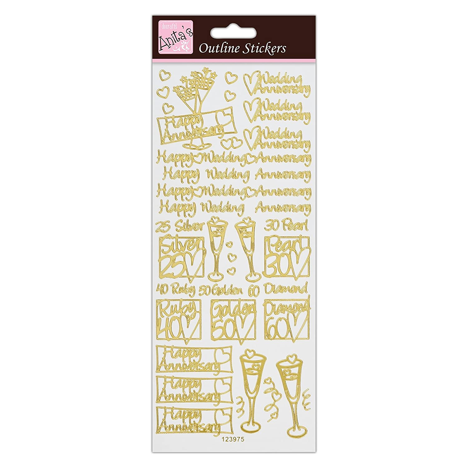 Outline Stickers Happy Anniversary Gold by Anitas