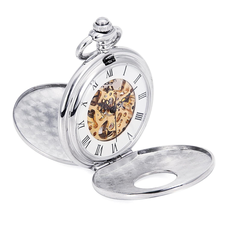 ローマ数HollowケースシルバートーンダブルハンターメンズHand Wind Mechanical Pocket Watchスチームパンクスケルトン腕時計 B06XRVC87L