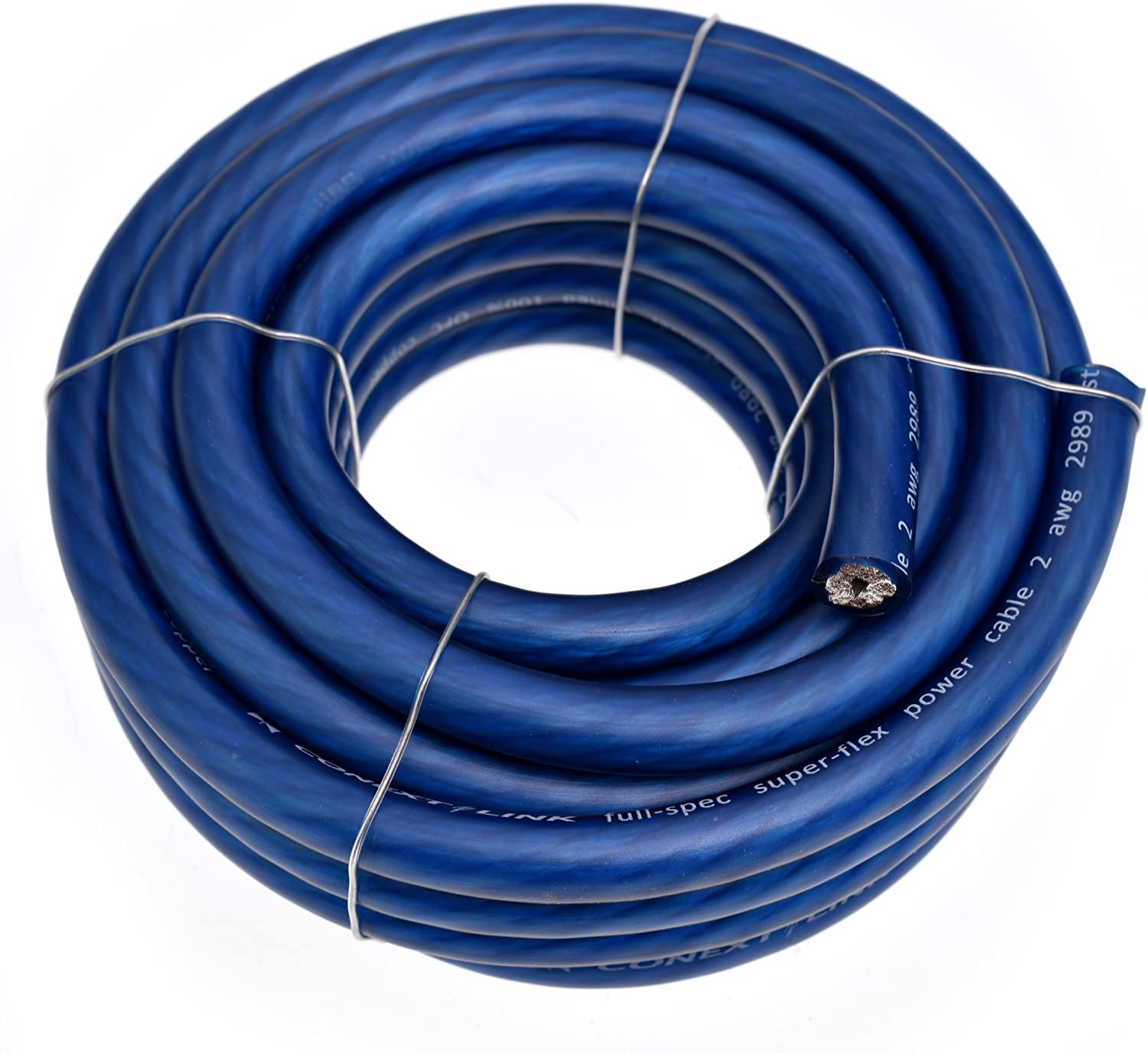 Amazon Com Conext Link 20 Ft 2 Awg Ga Full Gauge Battery Power Cable Ground Wire Frost Blue Ofc Copper Car Electronics