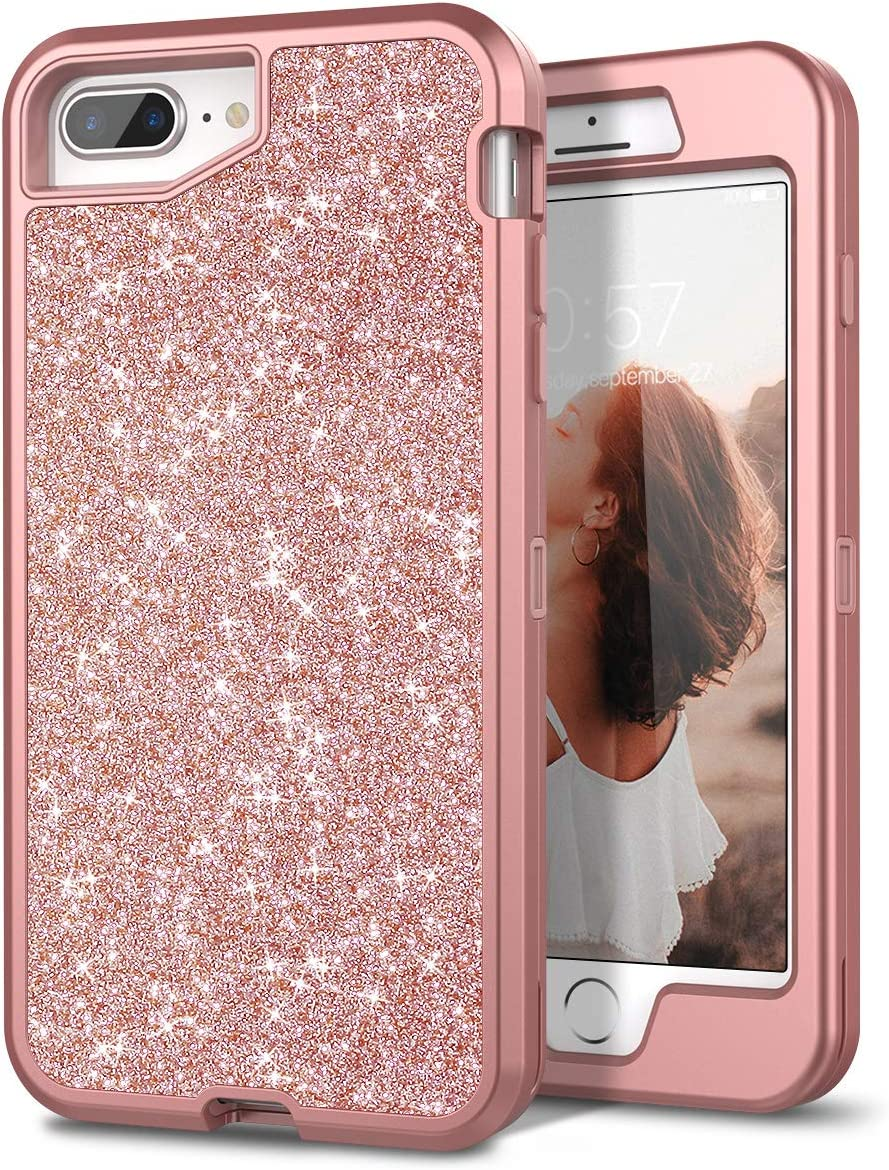 "iPhone 7 Plus Case, iPhone 8 Plus Case, WeLoveCase Bling Glitter Sparkle Three Layer Hybrid Heavy Duty Protective Cover Case for iPhone 8 Plus / 7 Plus / 6s Plus / 6 Plus 5.5"" (Rose Gold/Pink)"