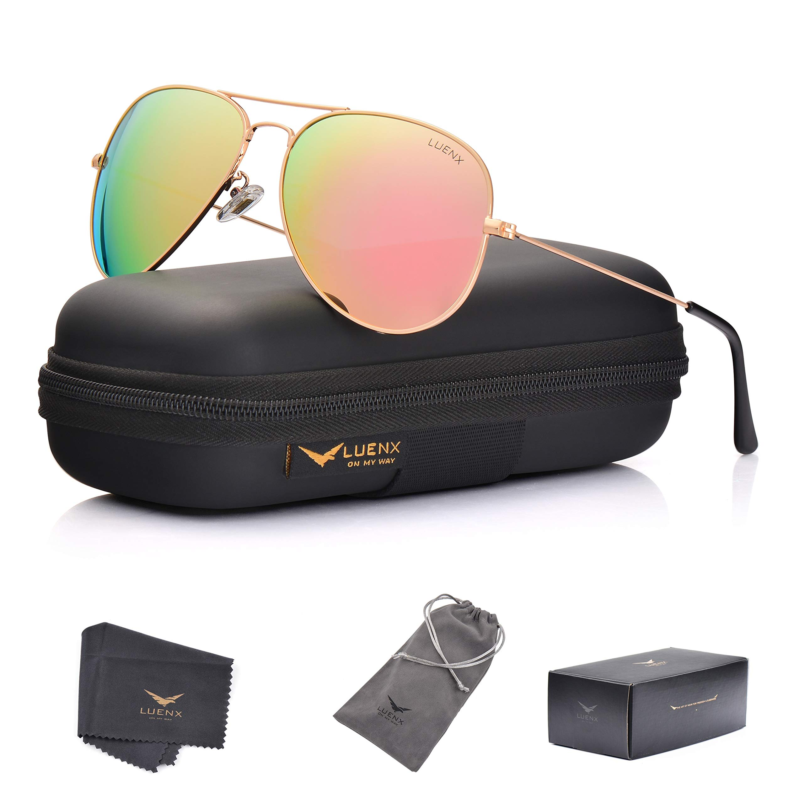 LUENX Aviator Womens Mens Sunglasses Polarized Pink Mirrored lenses Gold Frame UV 400 Protection Classic Style by LUENX