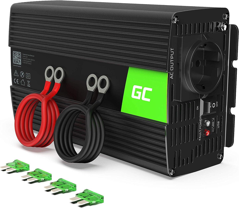 Green Cell® 1000W/2000W Onda sinusoidal modificada Inversor de Corriente Power Inverter DC 24V AC 220V, Transformador de Voltaje para Coche con Puerto USB y Pinzas de conexión a batería
