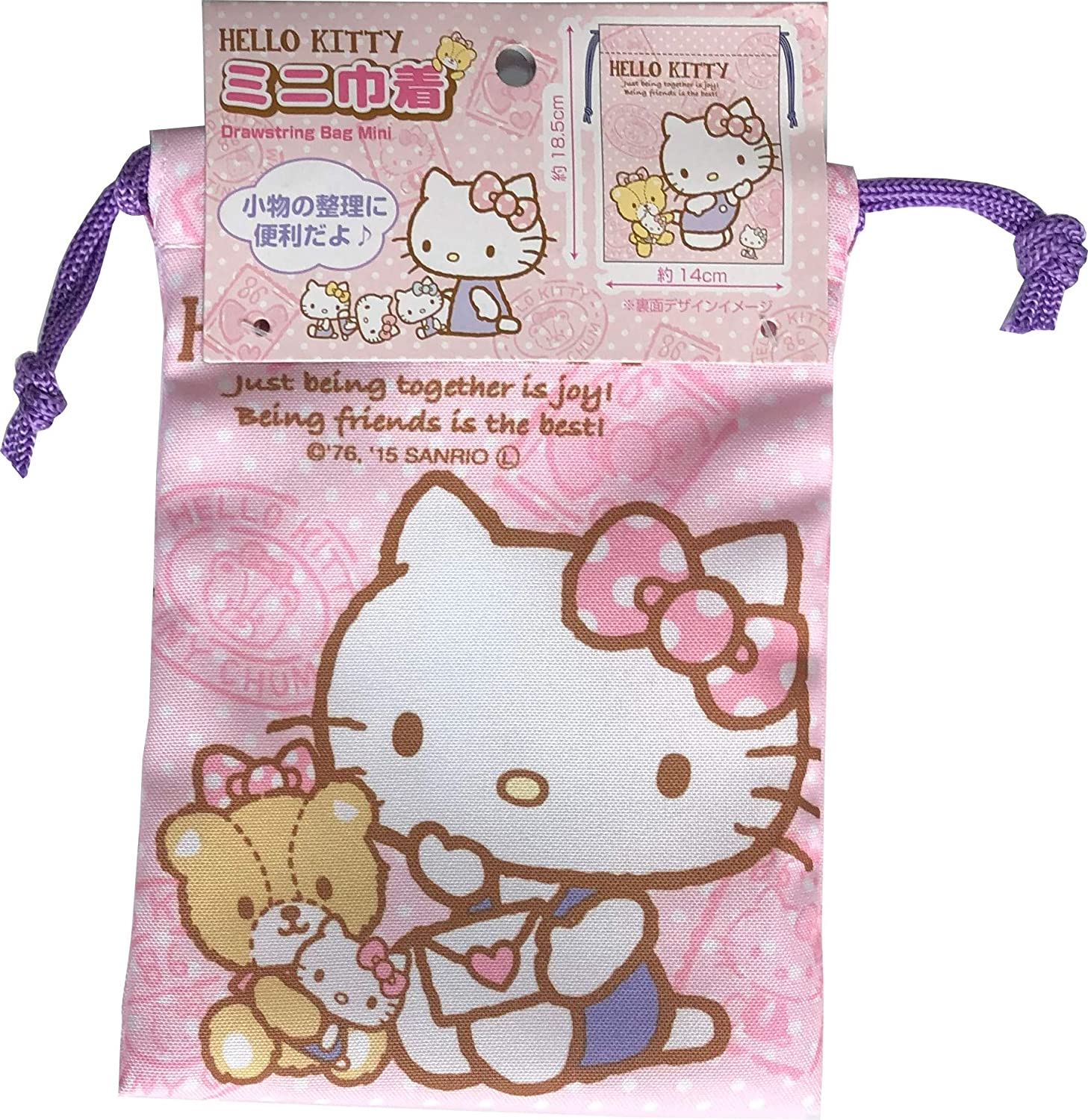 5e92822d0 Amazon.com | Sanrio Hello Kitty Purse Drawstring Bag Mini polyester 14 ×  18.5cm (Tiny Cham) | Drawstring Bags