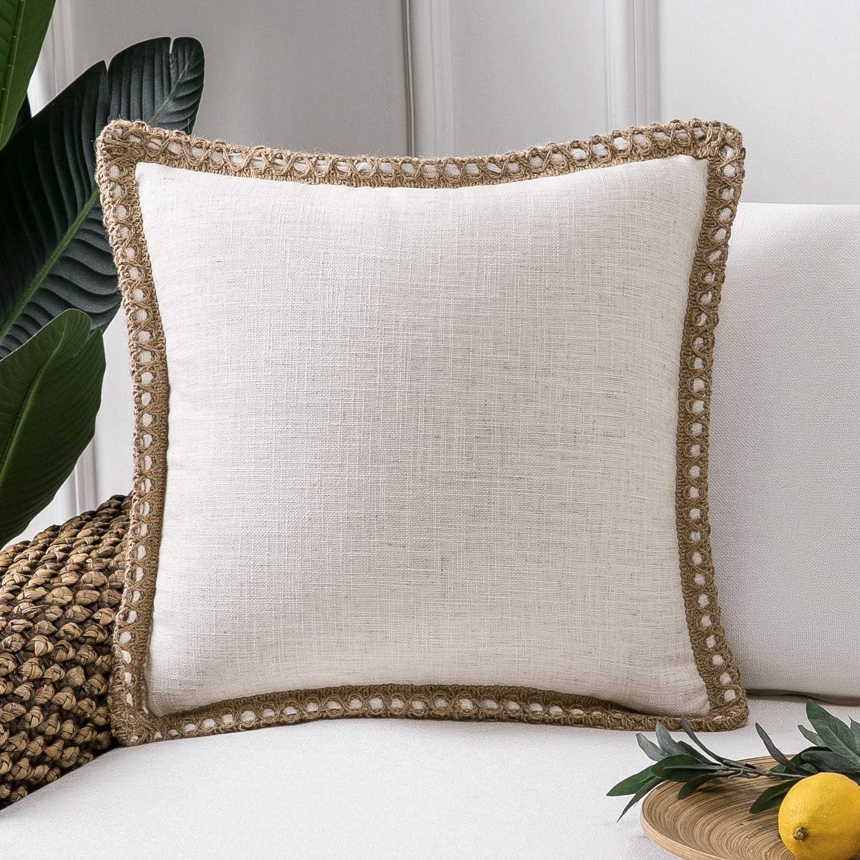 Amazon Com Phantoscope Farmhouse Decorative Throw Pillow Cover Burlap Linen Trimmed Tailored Edges Outdoor Pillow Off White 18 X 18 Inches 45 X 45 Cm Home Kitchen