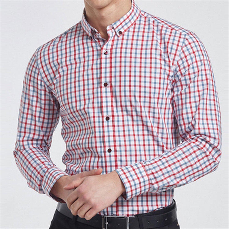 Lovbag Long Sleeve Fit Slim Plaid t Men Shirt Dress Camisa Social Shirt Chemise Homme Camisas Masculinas at Amazon Mens Clothing store: