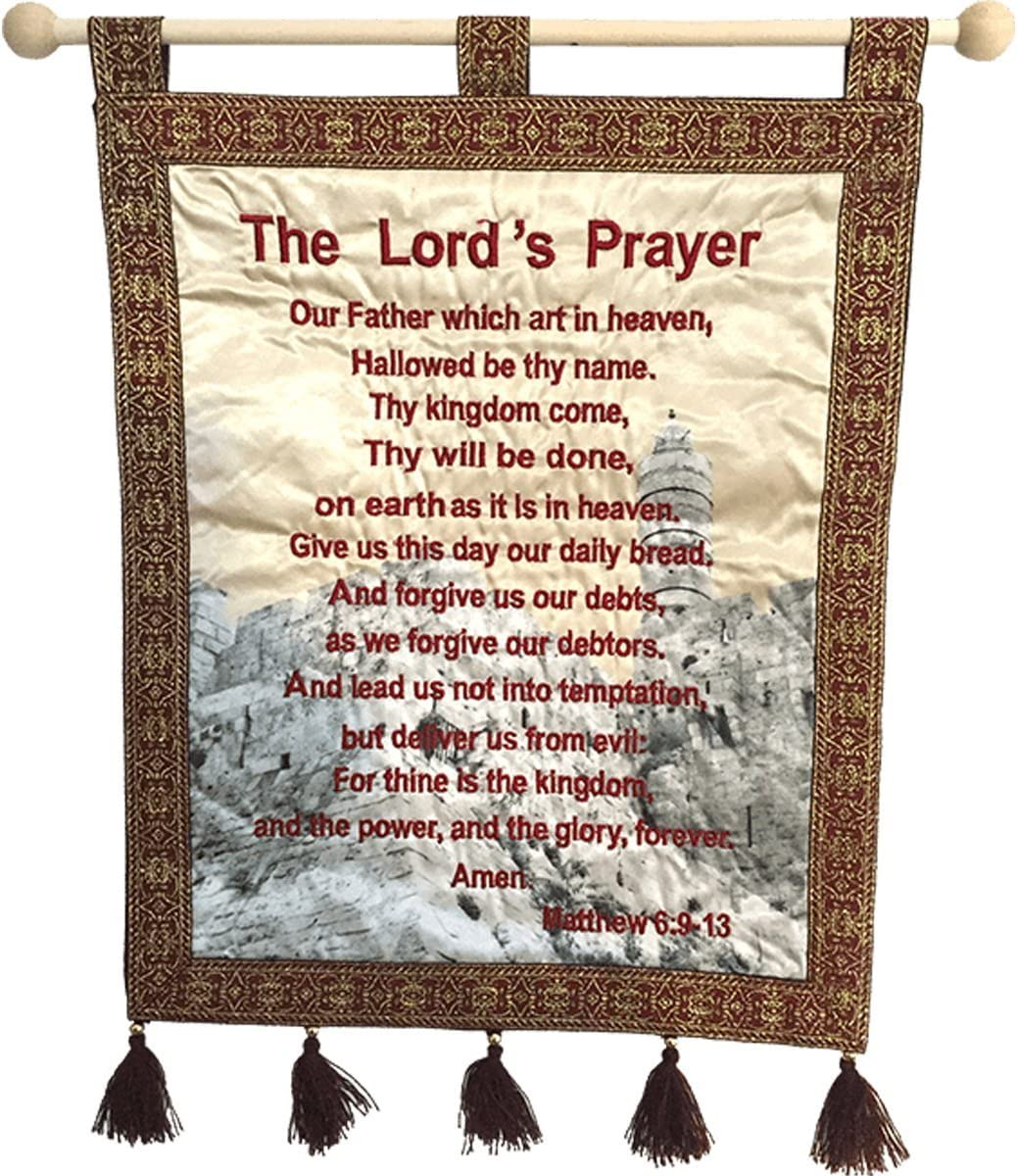 """Nana gifts The Lord's Prayer Wall Hanging Velvet Banner, Red, 14x11"""""""