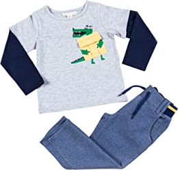 Kinderkind Boys Short Sleeve Tracksuit and Joggers with Patchwork Set Sizes 2T-3T-4T-5T-6-7