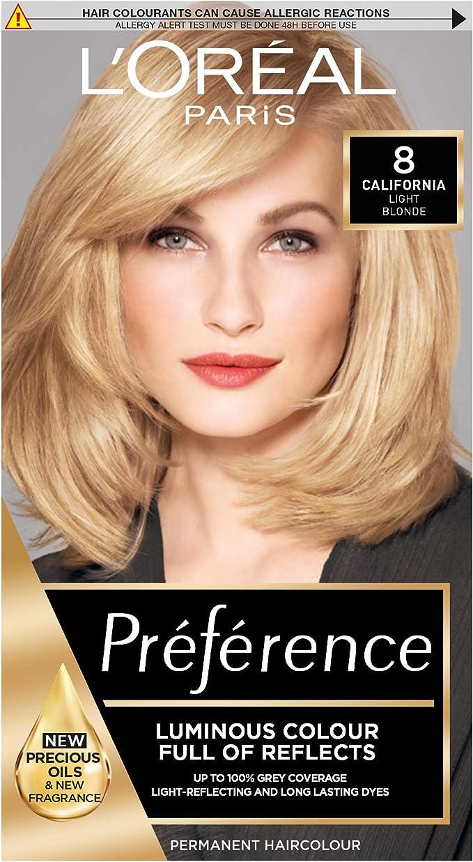 LOreal Paris Preference - Tinte para el cabello, color 8 California Natural Rubio claro