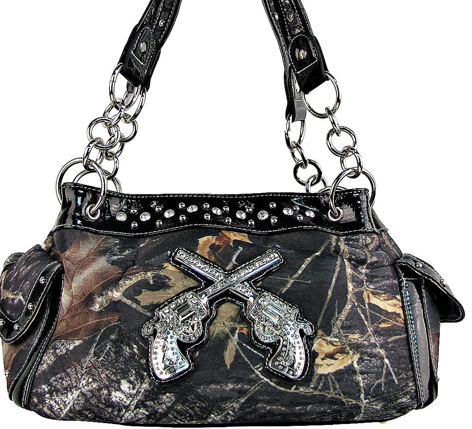 Western Cowgirl Guns Pistol Purse Camouflage Handbag Camo Black Trim