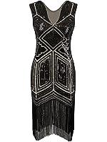 Vijiv Vintage 1920s Dress Flapper Costume Black Sequin Fringe Party Gatsby Dresses