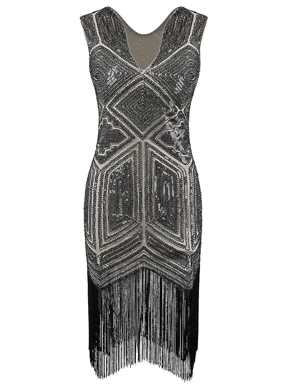 2cf941b27f0 Amazon.com  Vijiv Vintage 1920s Dress Flapper Costume Black Sequin Fringe  Party Gatsby Dresses  Clothing