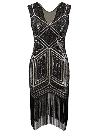 e9d482cb5575 VIJIV Vintage 1920s Dress Flapper Costume Black Sequin Fringe Party Gatsby  Dresses