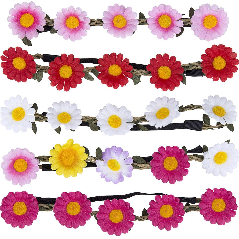 ZWOOS 5 St/ück Stirnb/änder Krone Haarband Kopfband Blume Haarb/änder mit Elastischem Band f/ür Hochzeit und Party Stirnband Blumen