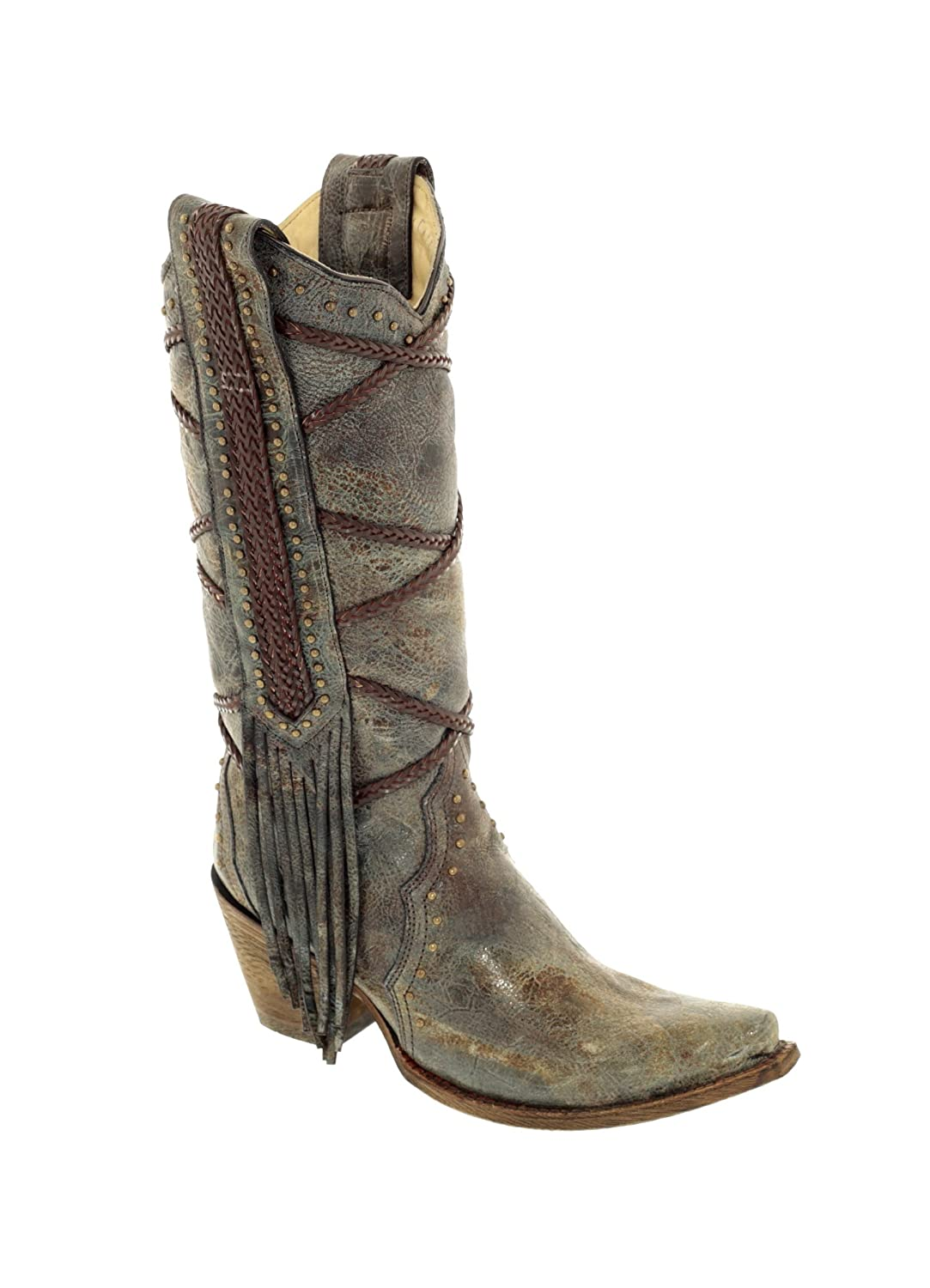12fd6a72c63 Corral Women's 13-inch Blue/Brown Braiding & Fringe Snip Toe Distressed  Cowboy Boots