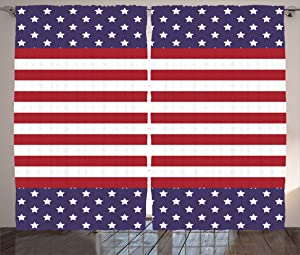 """Ambesonne Striped Curtains, American Flag with Stars Stripes USA Royalty Emblem Nation Country Print, Living Room Bedroom Window Drapes 2 Panel Set, 108"""" X 90"""", Violet White"""