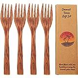 Coconut Wooden Reusable Forks | Set of 4 Handmade Wood Forks | Coconut Bowls Utensils | Eco Friendly | Eating Forks| Vegan Utensils