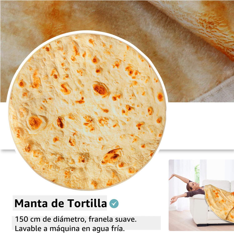 YISUN Manta de Burrito de Picnic, Toalla de Manta de Playa Redonda Suave y Novedosa para Adultos y Bebés, Cálida y Liviana, para ser un Burrito Humano Gigante (150 cm, Amarillo)