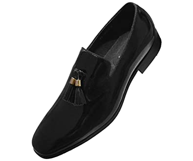 4efeb147f Image Unavailable. Image not available for. Color: Asher Green Mens Black  Patent Leather Gold Tip Tassel Slip On Tuxedo Loafer Dress Shoe