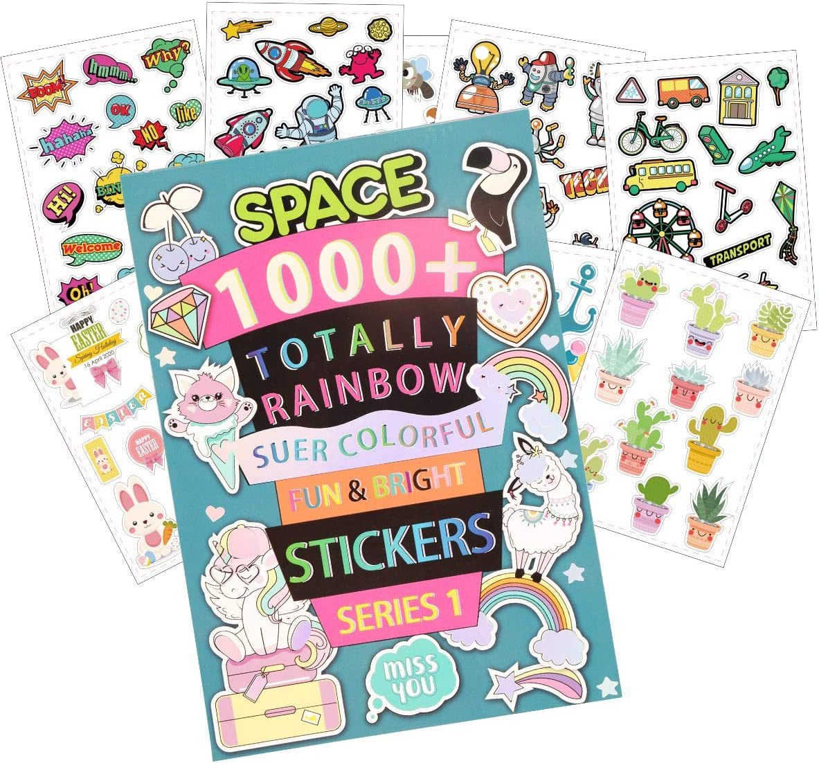SuperStyle 1000+ Stickers Book for Kids, Cute Sticker Books for Girls/Boys 4-8, Collection Alphabet, Animal, Plant, Food, Dinosaur, Donut, Mermaid ect., 32 Different Sheets, Super Colorful Stickers
