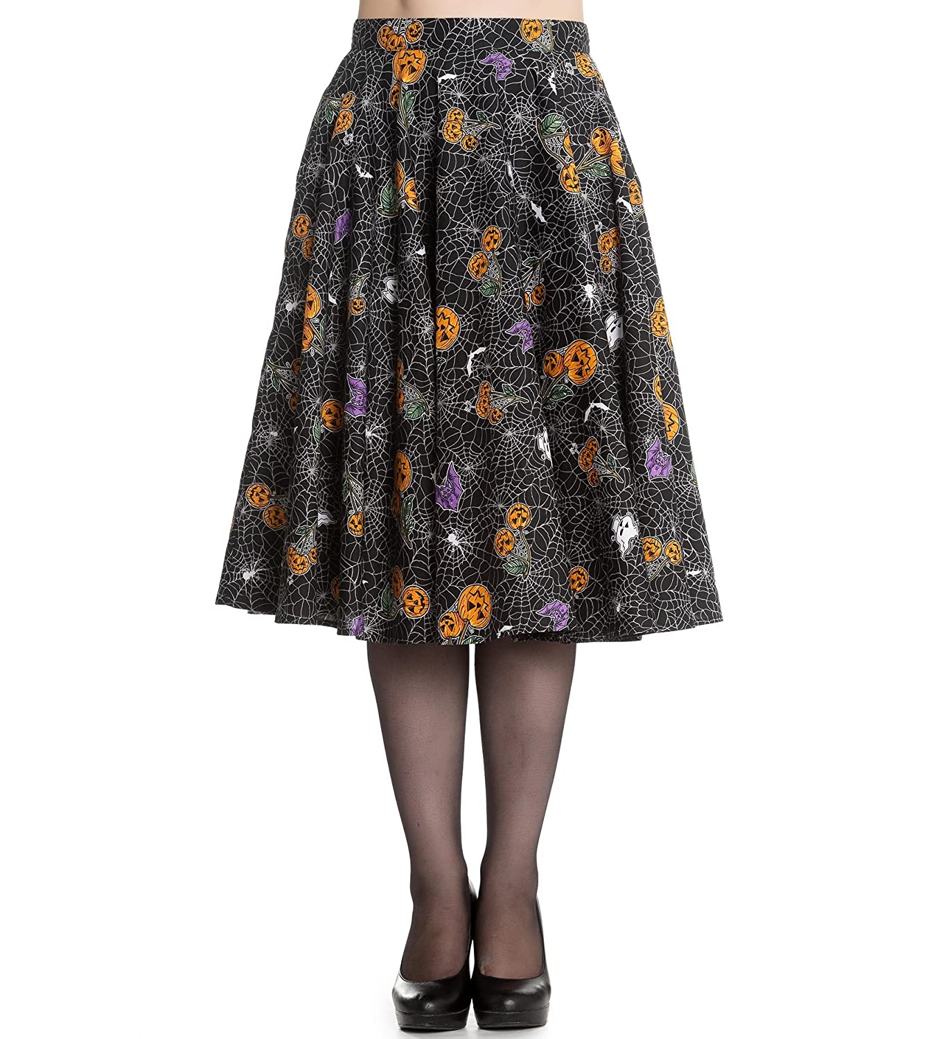Easy Retro Halloween Costumes – Last Minute Ideas Hell Bunny Goth Webs Pumpkins 50s Skirt Harlow Halloween Bats £11.90 AT vintagedancer.com