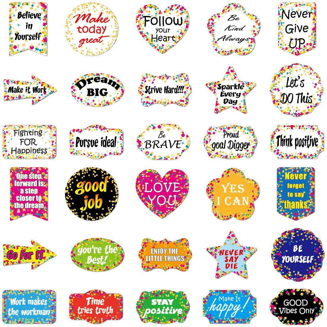 30Pcs Reward Motivational Decal Stickers for Students,Teachers and Company Employees,Waterproof Durable Trendy Vinyl Laptop Decal Stickers Pack for Water Bottles Travel Case Computer