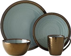 Gourmet Basics by Mikasa Anastasia Dinnerware Set (Service For 4), Blue