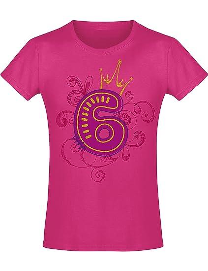 Camiseta de Cumpleaños - 6 Años con Corona y Brillo - Año 2014 - T-Shirt Niños Chica Niña Niñas Girl-s - Rosa Pink Fucsia Pijama - Regalo Princesa ...