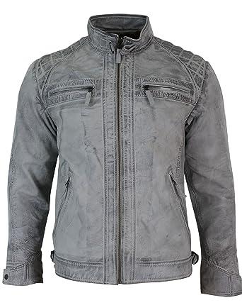 Biker Doux Homme Style Veste Cuir Vieilli Blanc Blouson Véritable T8tnawqwB