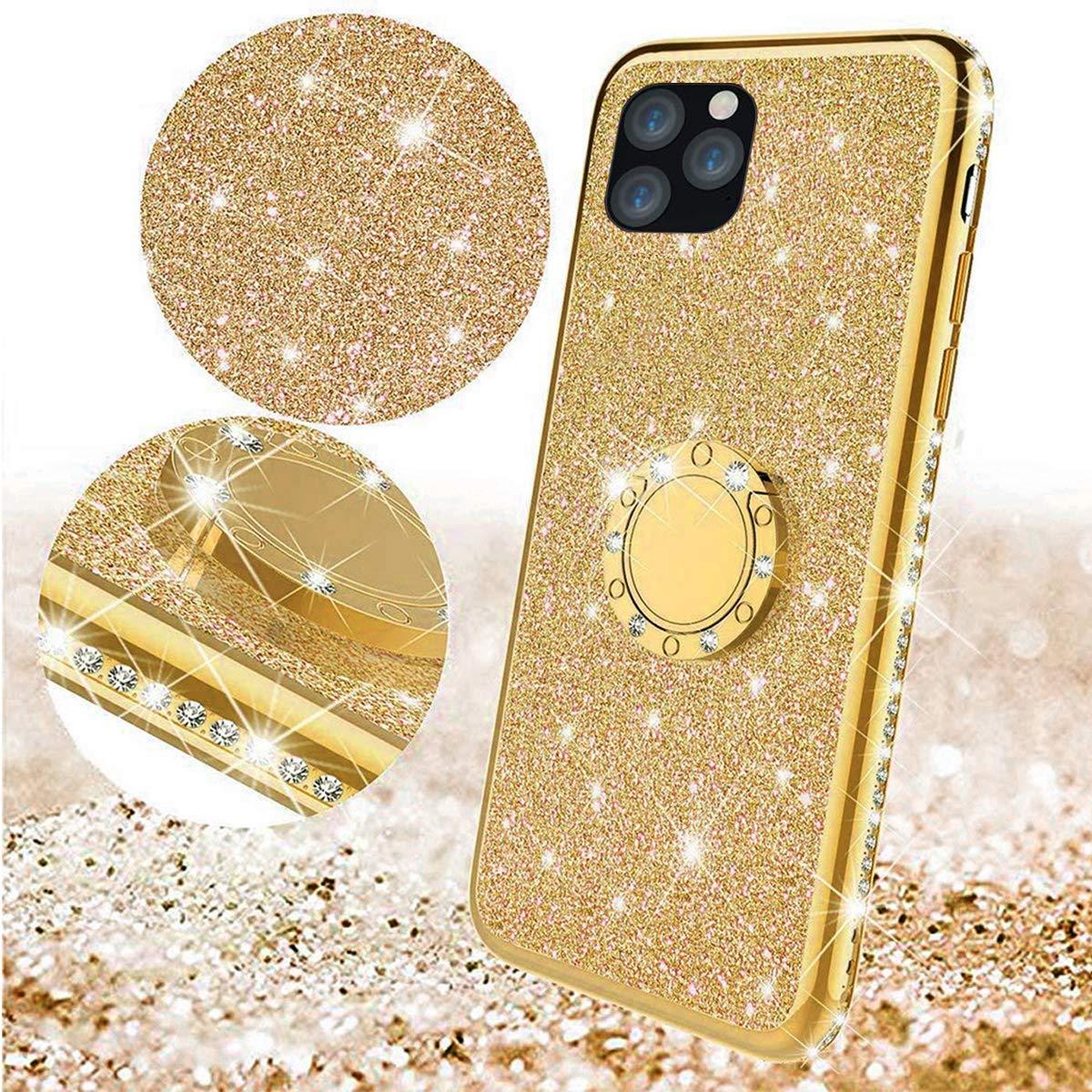 Homikon Silikon H/ülle Kompatibel mit iPhone 11 Pro 5.8 /Überzug TPU Bling Glitzer Strass Diamant Schutzh/ülle mit 360 Grad Ring St/änder Soft Flex Durchsichtig Silikon Handyh/ülle Tasche Case Schwarz