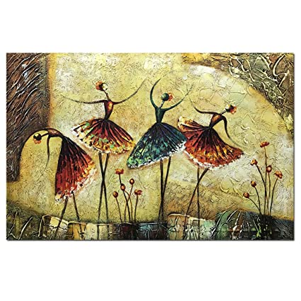 Amazon.com: Metuu Oil Paintings, Ballet Dancer Girl Paintings Modern ...