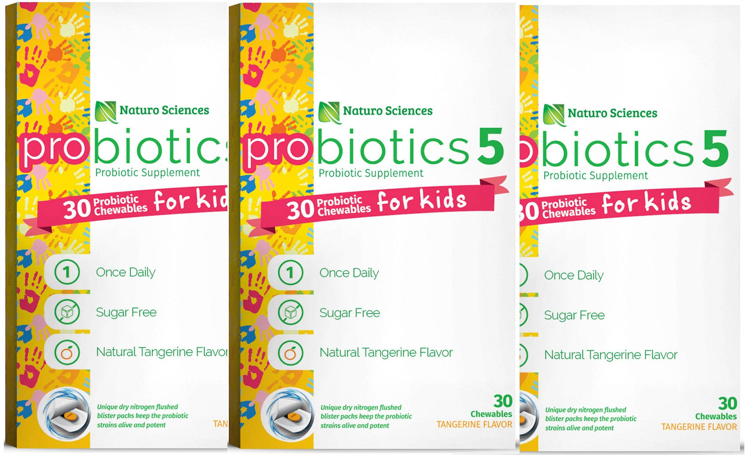 Naturo Sciences, Chewable Kids Digestive Probiotics, Nitrogen Filled Blister Packs for Best Product Freshness, 30 Once Daily Sugar Free Natural Tangerine Favor - Pack of Three