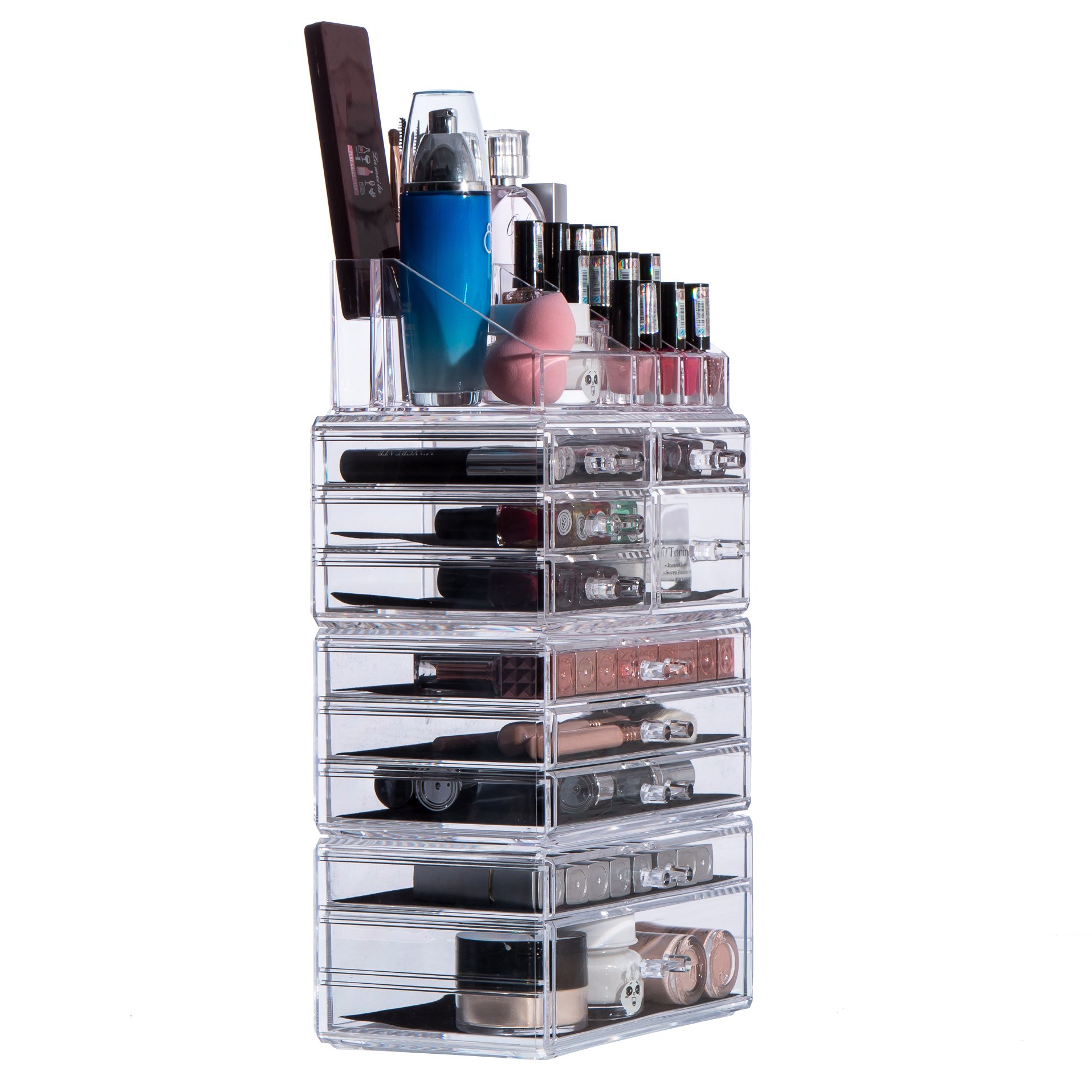 Cq acrylic Jewelry and Cosmetic Storage Drawers Display Makeup Organizer Boxes Case with 10 Drawers, 9.5'' x 5.4'' x 15.8'', 4 Piece