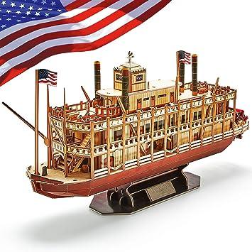 CubicFun Puzzle 3D Mississippi Steamboat Model Rompecabezas 3D Barco and Nave Kit Regalo for Niños y Adultos, 142 Piezas: Amazon.es: Juguetes y juegos