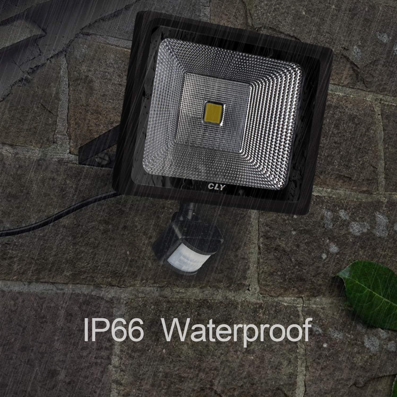 CLY Projecteur LED avec Detecteur de Mouvement, 50W LED Éclairage de Sécurité Extérieur, Projecteur led Extérieur Super Brillant, PIR Floodlight, Étanche IP66, 4500 Lumen, Lumière Naturelle Pour Patio, Jardin, Entrepôt, Cour, Garage, l\'All