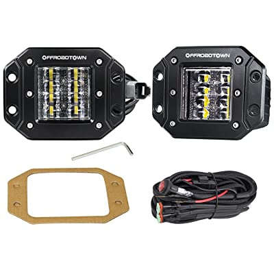 LED Work Light Flush Mount,OFFROADTOWN 2 Pcs 12V 48W Flush Cube LED Work Light Bar for Truck Off-Road SUV Boat 4x4 Jeep Grill Mount: Automotive