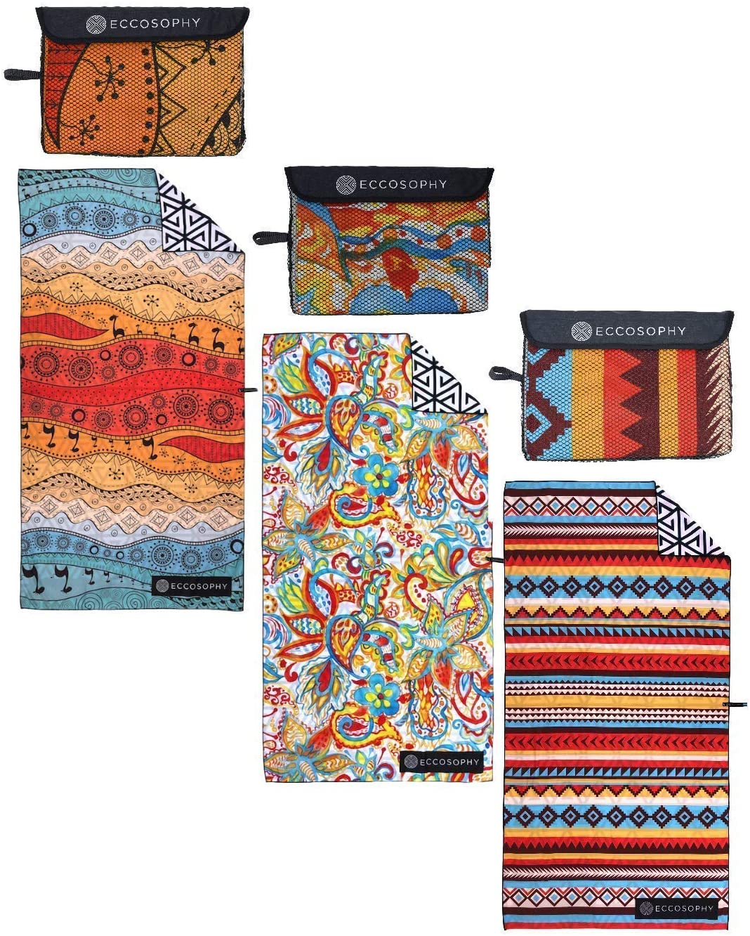 ECCOSOPHY Beach Towels- Sunset by The Sea Collection Includes 3 Quick Dry, Sand Proof Microfiber Beach Towels