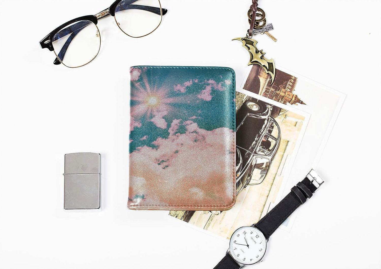 Cartoon Passport Holder Cover Cute Warm Fashion Beautiful Sun Passport Holder Plastic Cover Multi Purpose Print Passport Cover Women Travel Wallets For Unisex 5.51x4.37 Inch