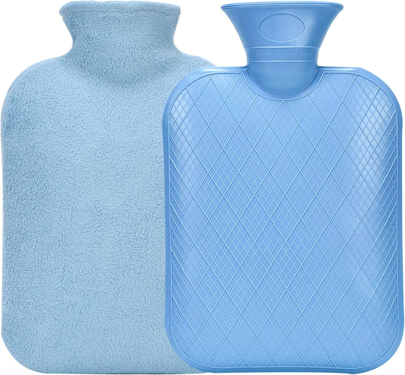 BYXAS Classic Rubber Hot Water Bottle - 2 Liter Hot Water Bag for Pain Relief Therapy Tools Body Warmer with Soft Flannel Cover – Blue