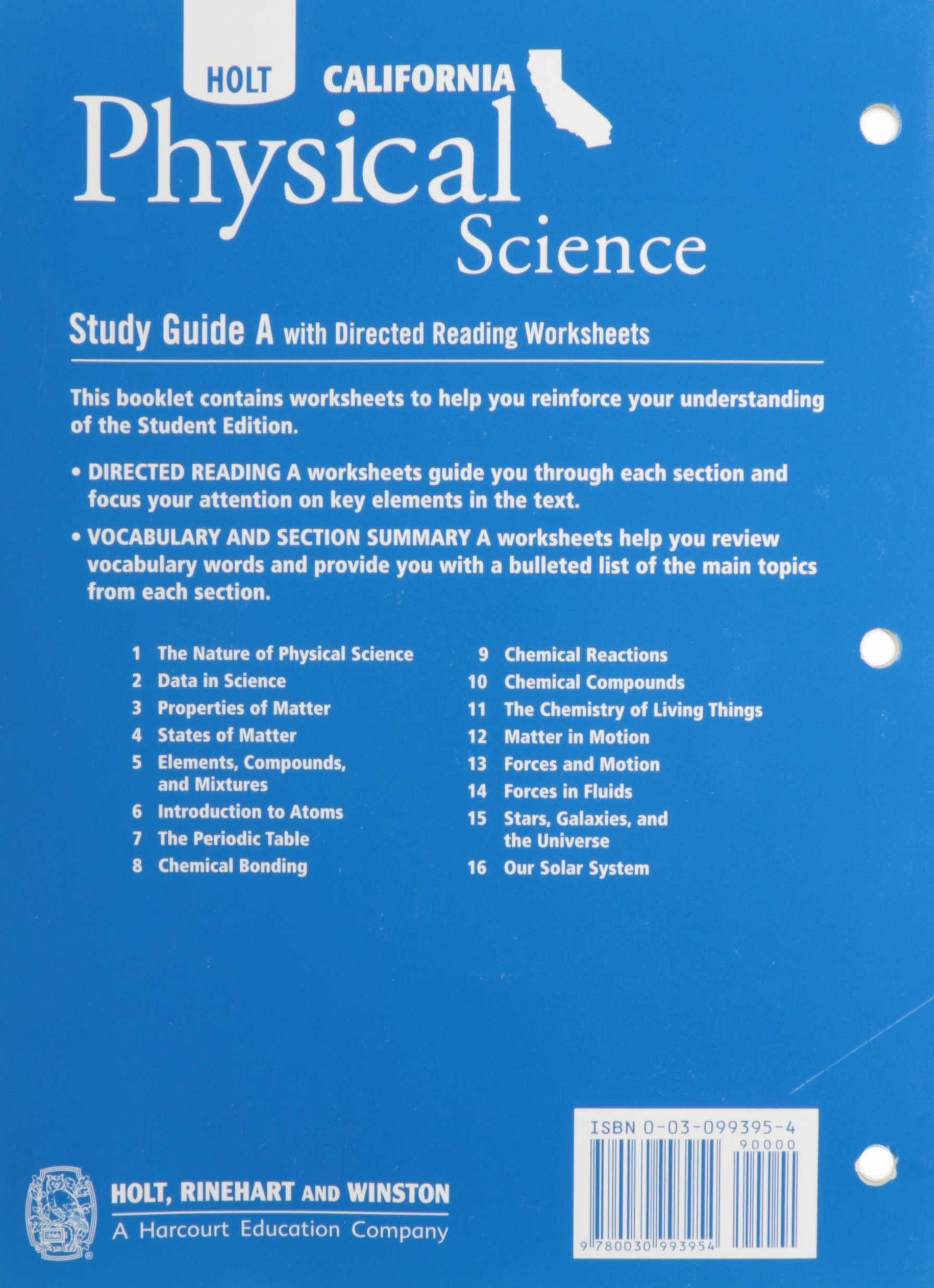 Holt Science Technology California Study Guide A With Directed