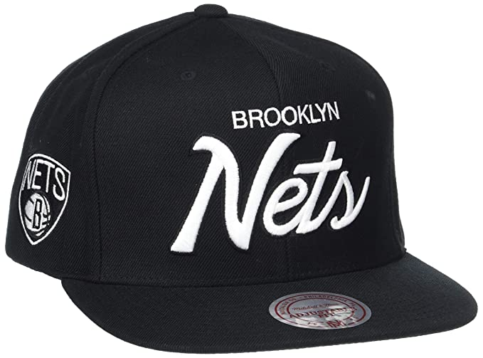 85a50f13bed0ed Mitchell   Ness Men s The Brooklyn Nets Solid Script Snapback Cap One Size  Black