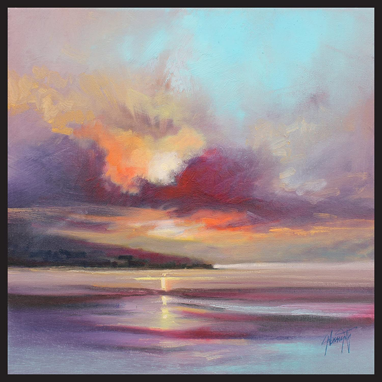 ArtMaison.ca allery Wrapped 25.5-Inch by 25.5-Inch Framed Gel Brush Finish Canvas Cloudy Beach Scott Naismith