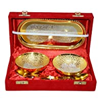 ME&YOU Dhanteras Gift Item;ME&YOU Gold & Silver Plated Brass Bowl,Spoon & Tray Set of 5 Items