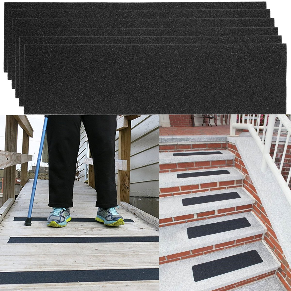 "12 Pack Non-slip 24"" x 6"" Step Safety Treads Grip Tape For Skateboard Strips and Stairs Safety Adhesive Stair Treads For Kids, Elders And Pets, Prevents Slipping by DG Home Goods (Image #1)"