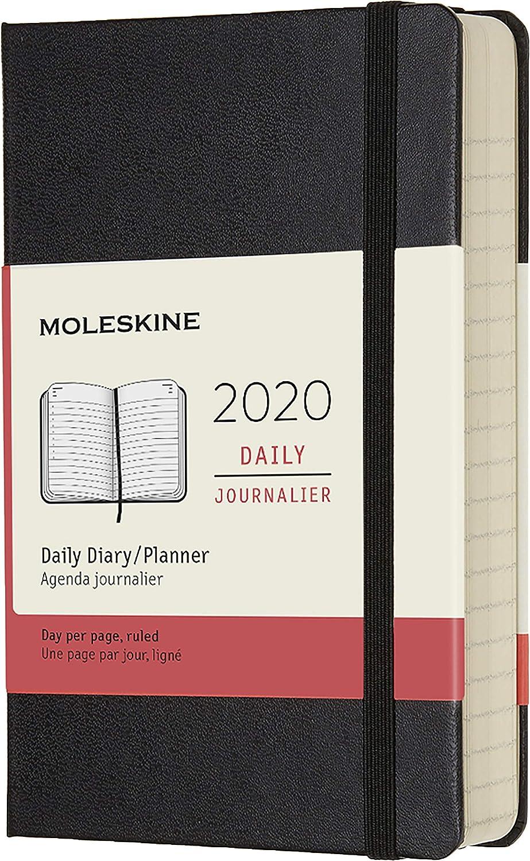 Moleskine - Agenda Diaria de 12 Meses 2020, Tapa Dura y Goma Elástica, Negro, Tamaño Pequeño (9 x 14 cm)