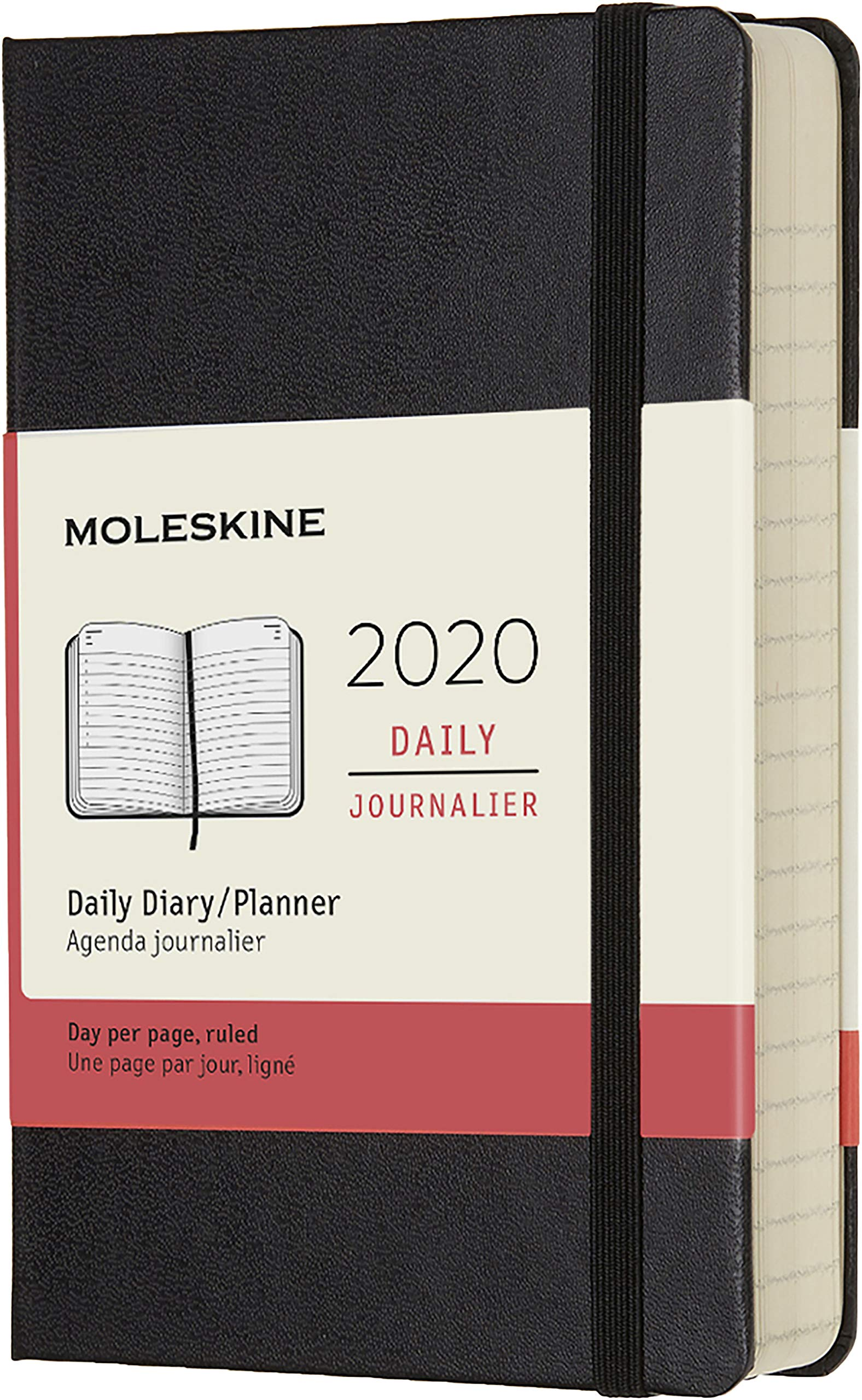 Agenda 2020 Journalier Poche Noir Rigide
