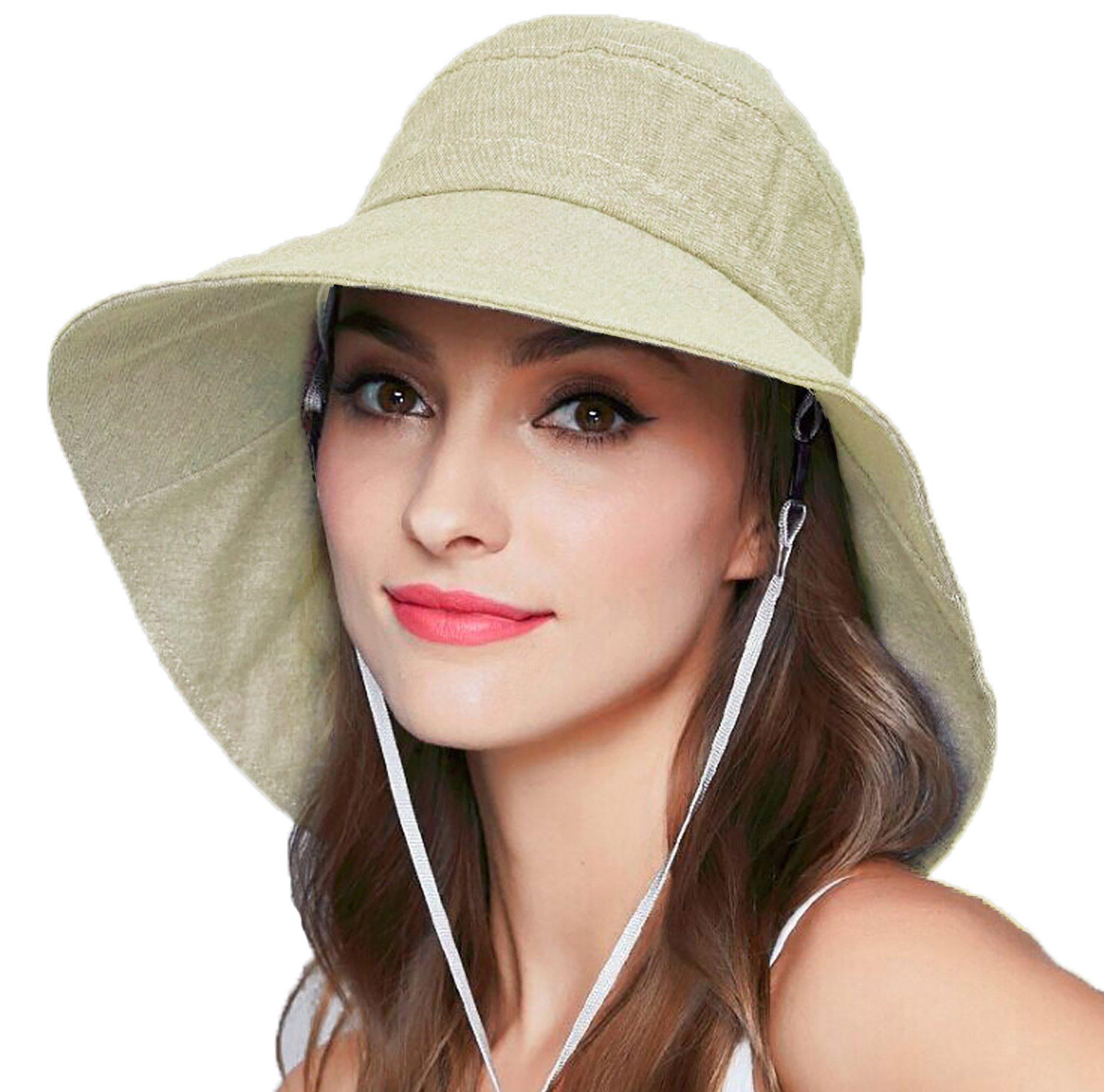 Women's Wide Brim Sun Hat, Sun Protection Bucket Boonie Cap for Beach Fishing Safari (Blue) (Beige)